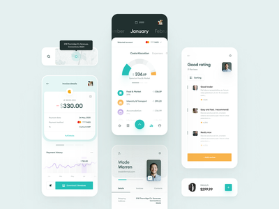 e-Commerce & Finance Analytics - Mobile app rating investment ui dashboard ecommerce clean calendar account history payment filters chart graph map trading reviews profile invoice finance widelab