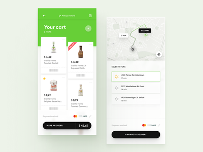 Grocery Delivery - Pickup in Store ecommerce menu product ux ui interface store service list method payment mobile widelab clean map order cart grocery food delivery