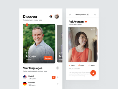 Find Your Tutor App - Matches feature carousel slider application ux ui like profile navigation icons learn teach teacher tutor language match swipe app clean widelab