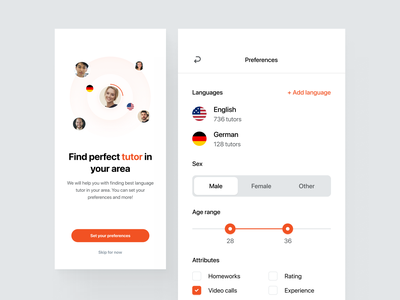 Find Your Tutor - Preferences area buttons screen page people languages attributes slider range save mobile clean ux ui design app widelab onboarding filters preferences