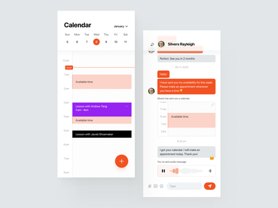 Find Your Tutor App - Calendar & Chat availability wysiwyg typography consistency design system button emoji lesson messenger private audio message management schedule find clean app widelab chat calendar