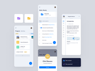 Planner Dashboard - Mobile App map overlay kpi tasks to do folders planner evernote profile projects page ux clean kanban design dashboard app ui mobile widelab