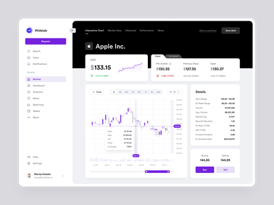 Stocks and cryptocurrency trading platform marketplace investing finance wallet invest app ux ui dashboard trading fintech exchange graph chart stocks crypto cryptocurrency trade market widelab