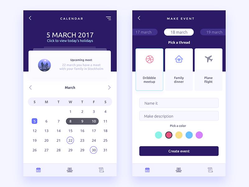 🍑 Calendar icon color make page app mobile ux ui event calendar dailyui