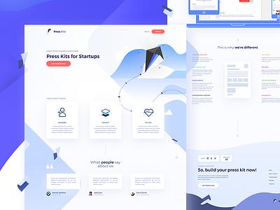 🐦 Landing page for Press Kite figma ui web product hunt dailyui press illustration invite website page landing startup