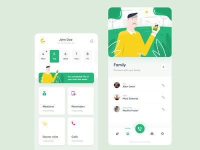 CareUp - Mobile app widelab progress mobile app clean green calendar call tasks page ux ui contacts schedule navigation planner reminder illustration to do mobile app