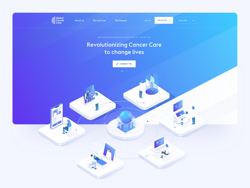 Global Cancer Care - Landing page slider hero homepage home widelab site ux ui web top header above the fold meeting purple blue patients page website illustration landing