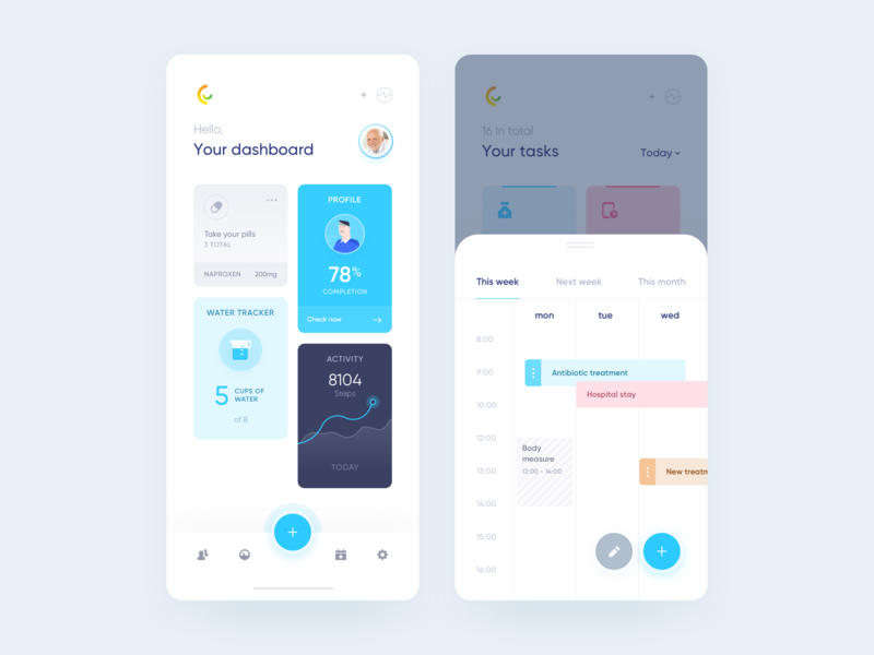 Careup app - Onboarding dashboard planner schedule widelab timeline history navigation bar profile tasks tracker activity agenda icons blue ui edit calendar dashboard tabs overview health