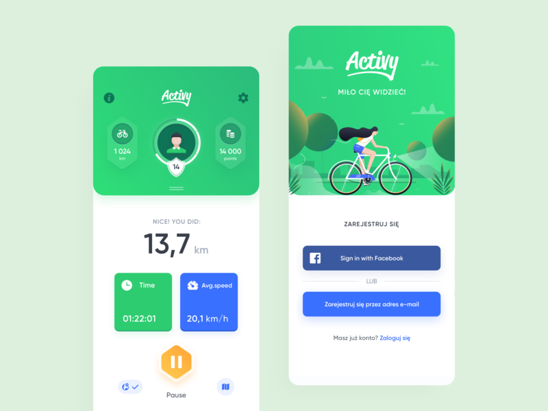 Activy - Cycling game app clean bike route goal ride fitness page icons progress application game sport tracker widelab illustration sign up register cycling profile app