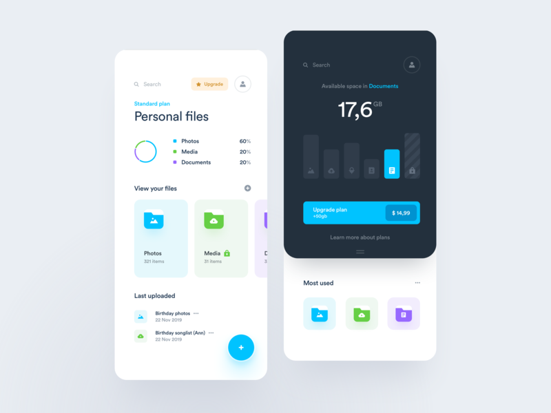 Personal cloud space manager - App cloud drive files categories application project chart card pricing ux ui product statistics management documents page mobile dashboard app widelab