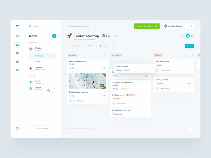 Kanban for Product roadmap cards agenda platform board steps saas marketing trello task deals ux ui app dashboard crm team navigation roadmap management kanban