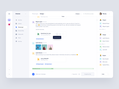 Messenger for Product management app messenger product management app ui chat slack emoji messages inbox upload files web clean complex widelab sidebar desktop dashboard ux