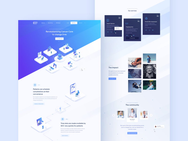 Global Cancer Care - Landing page landing illustration website page patients blue purple meeting above the fold header top web ui ux site widelab home homepage hero slider