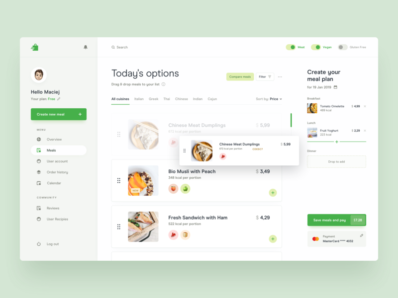 Meal Prep Delivery Service App platform dish ecommerce emoji method search cards planner creator filters clean minimal menu navigation drag and drop food delivery summary payment dashboard
