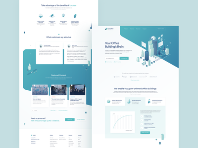 Locatee - Landing page dashboard above the fold home responsive clean homepage gradient web widelab menu tabs testimonials features blog chart isometric hero website page landing