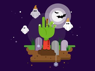 Happy Halloween from busuu zombie bats ghosts scary spooky sketch halloween illustration