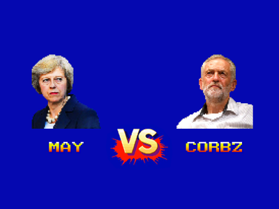 Theresa May vs Jeremy Corbyn (Street Fighter) prime minister election versus vs 16 bit pixel art street fighter jeremy corbyn theresa may