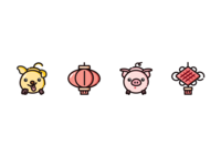 BME style icons for cute Chinese lunar year celebration