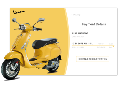 Daily UI #002 - Credit Card Checkout uxui uxdesign uidesign yellow debut creditcardcheckout vespa dailyui