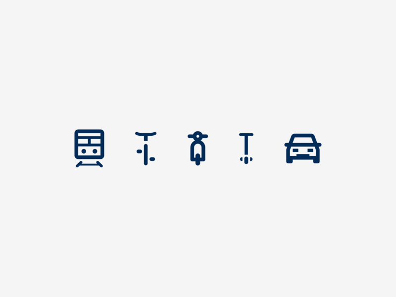 Mobility iconset stroke outlined outline public transport scooter train car icon iconset icons