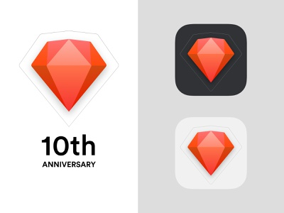 10 Years Of Sketch 10th red diamond logo logo design app anniversary sketch white