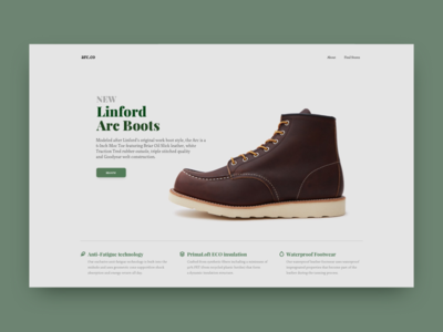 Arc footer landing product ecommerce green boots ui ux