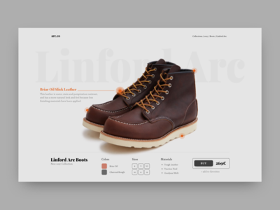 Arc Product Page ux ui product landing green footer ecommerce boots