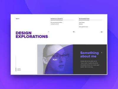 Explorations invite grid web page about purple designer portfolio ui
