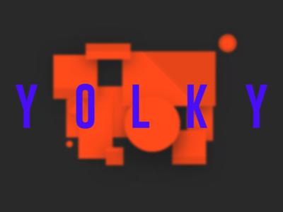 yolky work home landing orange dark ui letters big background blur new portfolio