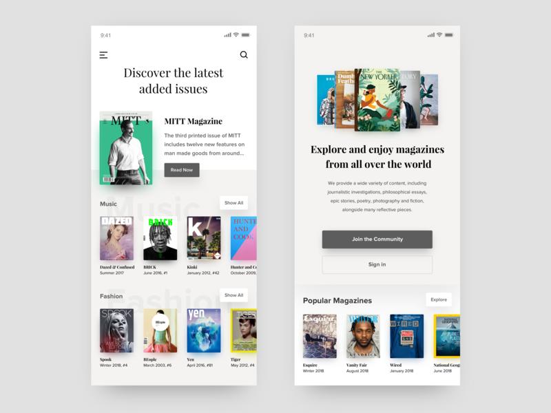 Magazines category white grey gallery community magazines visual ui app mobile