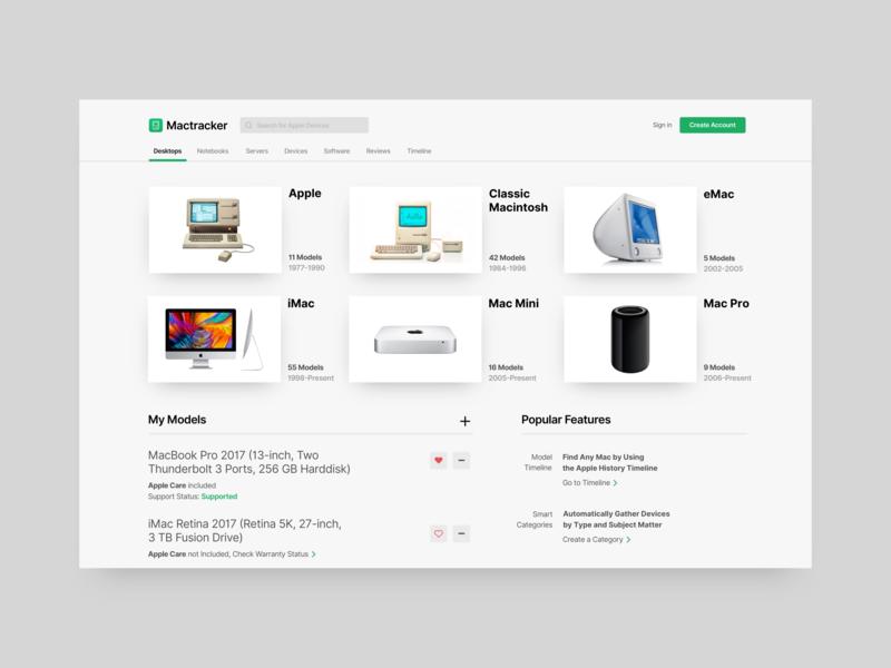 Mactracker Website tab bar search visual mac design ux grey web ui