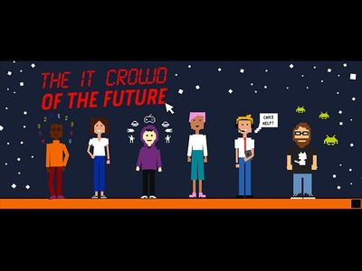 IT crowd of the future characters technology pixelcharacters pixel pixelated 2000s characters branding illustration design graphics graphicdesign vector illustrator