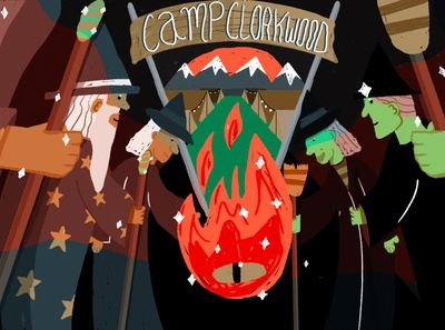Wizards Witches Retreat Frame 1 flames fire whimsical magical illustrationformotion motion campfire animation graphic illustration design graphics graphicdesign vector illustrator camping adobe wizards witches campcloakwood