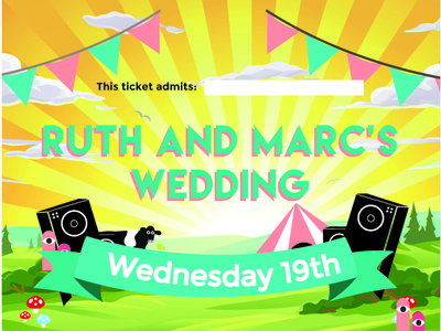 Glastonbury inspired wedding invite design