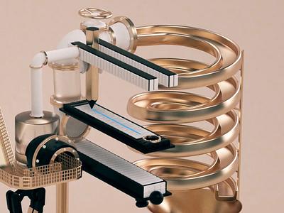 WUA Machine Crop rube goldberg machine factory idea 3d animation animation c4d 3d