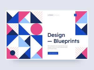 Design Handbook Exploration simple clean pattern shapes geometric interaction brand interface blue web design modular branding web ui modern ux design