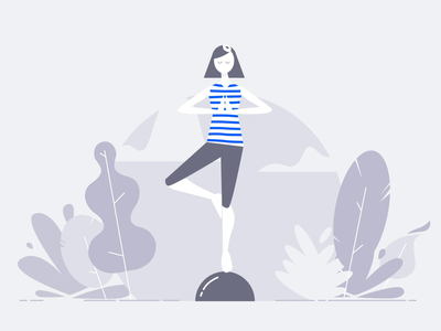 Empty States Illustration & Animation character calm yoga nature empty state simple clean brand design ux web design vector interface illustration blue ui branding