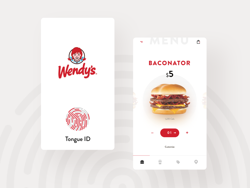 Tongue ID Wendy's red ecommerce app ecommerce fast food burger app design app touch touch id white simple clean brand typography interface branding modern ui design ux