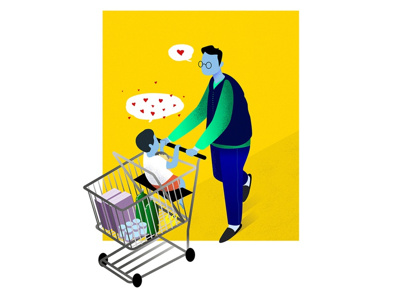 Father & Son brand texture emotion kid dad space simple happy love cart grocery son father yellow illustration branding modern design