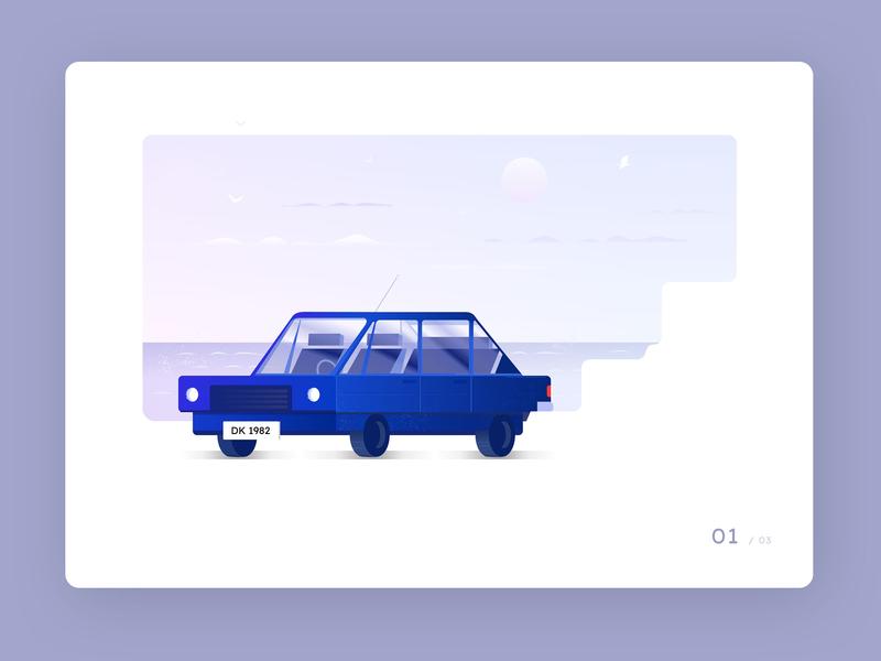 Car study vector interface web modern modular branding sky water beach scene purple blue auto car illustration design