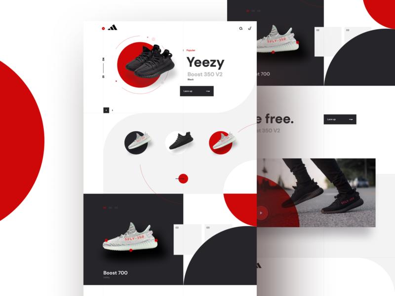 yeezy sketch interface light circle modular footwear simple clean ux ui modern black red yeezy adidas shoe