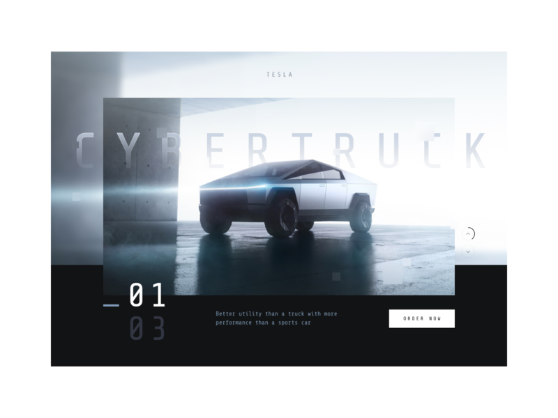 cybertruck hero future brand dark mono black blue truck car auto simple modern clean interface ui ux hero tesla cybertruck