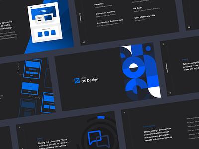 Design Consultancy Deck presentation deck swiss blue simple clean brand black branding modular web design modern ux web ui design