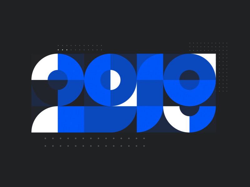 A Great Year modern typography geometric shape year brand design trend liferay swiss modular black blue ui ux number graphic report annual 2019