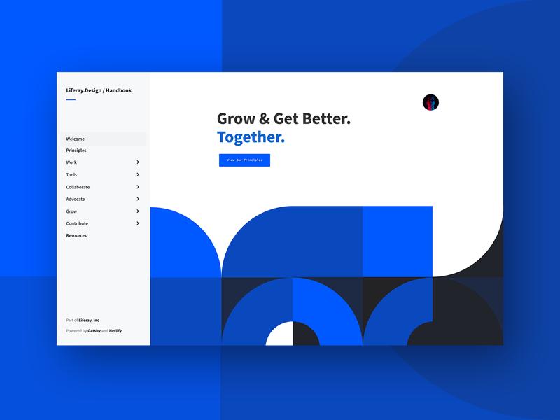 Design Handbook clean simple geometric product inspiration visual brand documentation handbook black blue interface branding web design modular web ui modern design ux