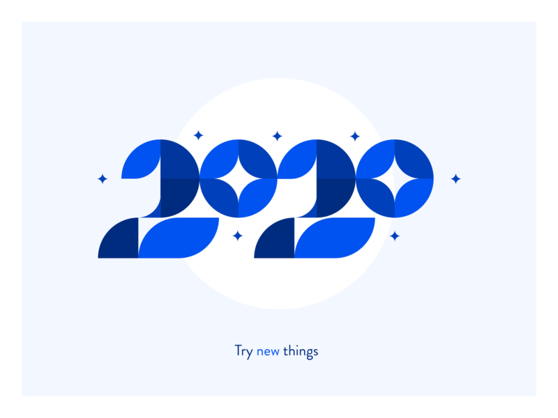 2020 - Try new things! modular inspiration brand branding ui modern design ux vector simple flat number typography blue graphic graphic design year 2020