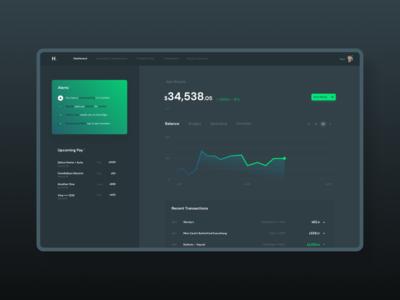 Personal Banking App dark finance app dashboard dash black brand interface web design branding modular web ui modern design ux