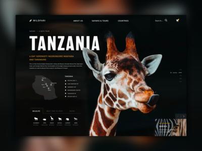 Website for a Safari Adventures company design website concept wild travel africa dark theme dark ui ui website design tanzania animal nature giraffe safari dark website