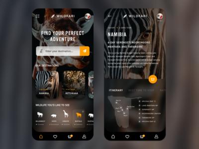 Find your Safari App adventure theme dark mobile animals wild nature safari uiux ui app design app ui app