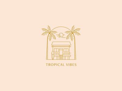 Tropical Vibes house beach house palms illustration lined badge emblem logodesign surf beach tropical logotype logo